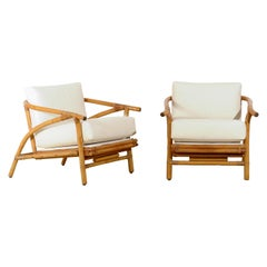Install Ready Stylish Pair of Modern Loungers by Ficks Reed, circa 1965