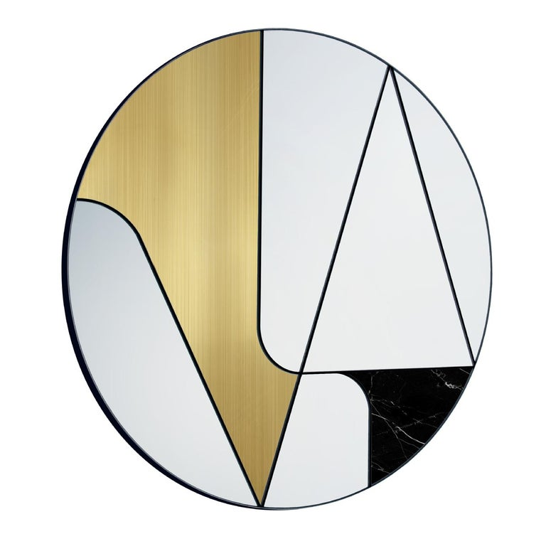 Combining rigorous geometry and asymmetrical proportions, this exquisite mirror is a one-of-a-kind addition to any contemporary interior. Crafted by expert hands, its various elements rest on a wooden base connected with steel setting and creating a