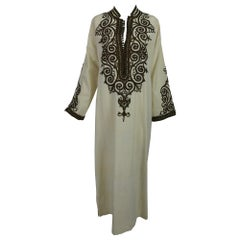 intage Passementerie Silk Caftan in Cream and Brown Atlas Silks Hand Made 1970s