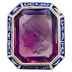 Intaglio Amethyst Pendant/Pin 14 Karat Yellow Gold with Enameled Bezel