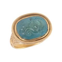 Intaglio Aquamarine Nereid Riding a Hippocampus Ring