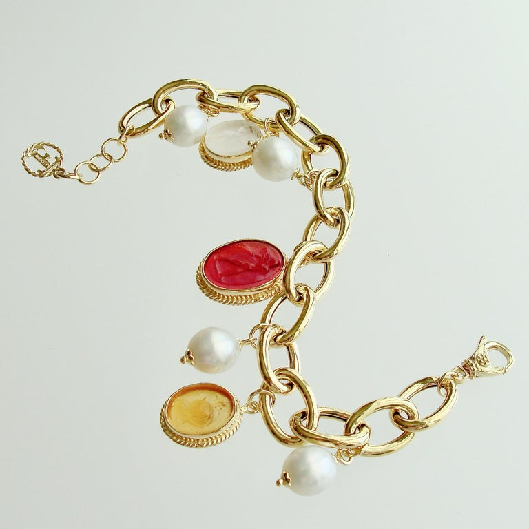 Neoclassical Intaglio Charm Pearl Bracelet, Portofino Bracelet For Sale