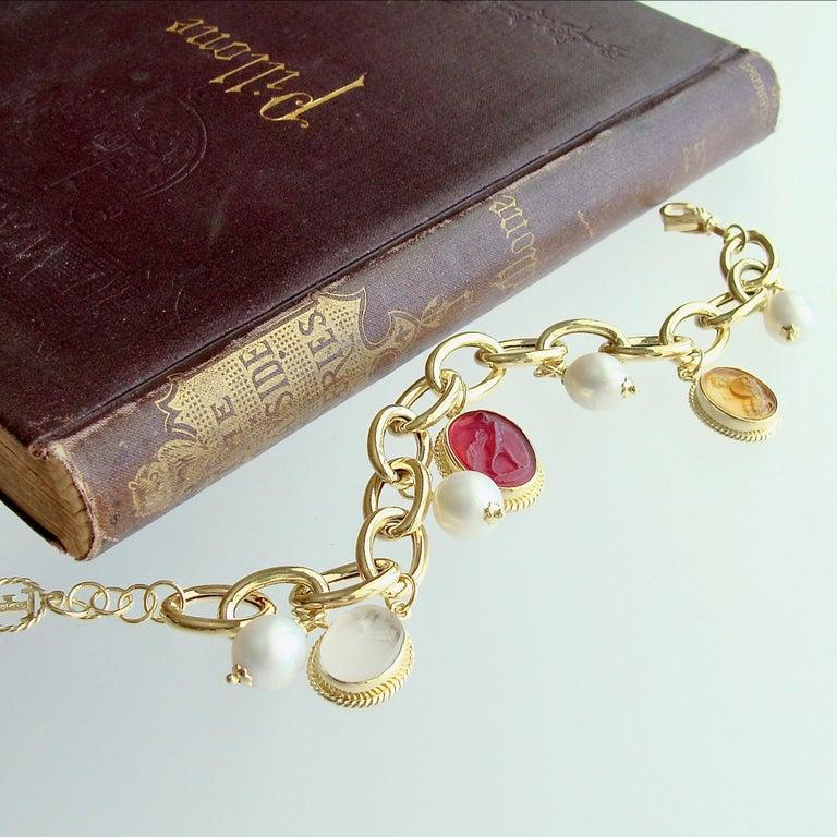 Bead Intaglio Charm Pearl Bracelet, Portofino Bracelet For Sale