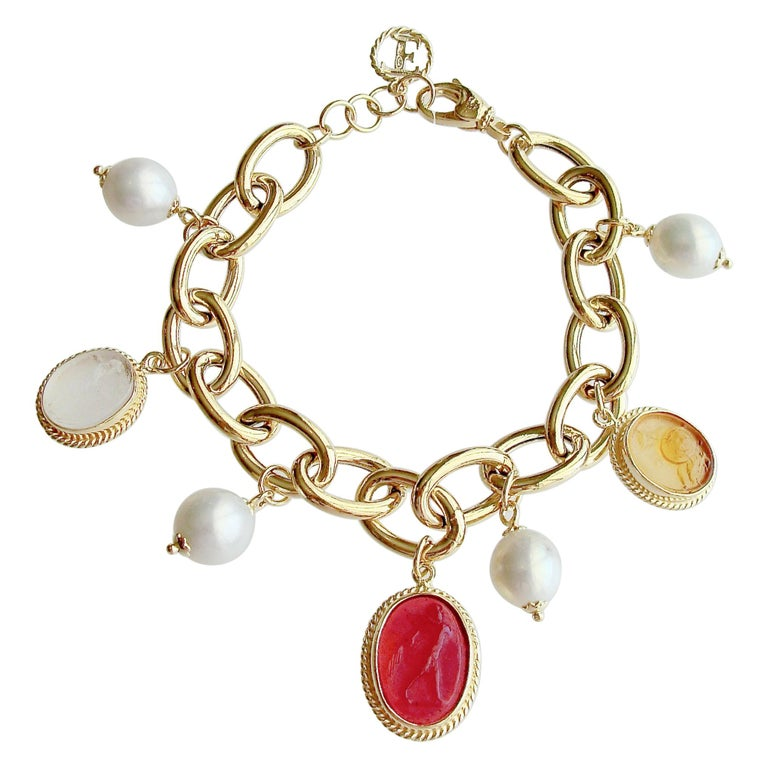 Intaglio Charm Pearl Bracelet, Portofino Bracelet For Sale