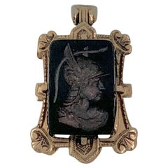 Intaglio Locket Pendant Hermes Mercury Roman God Gold Black Onyx, Victorian