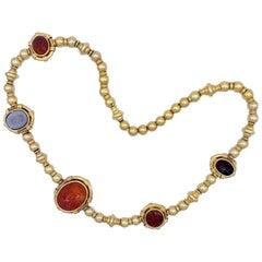 Intaglio Necklace 14 Karat Gold Ball Chain
