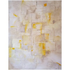 """Intangible"" 2018 Abstract Mixed-Media Painting on Canvas, Yellow, Gray, White"