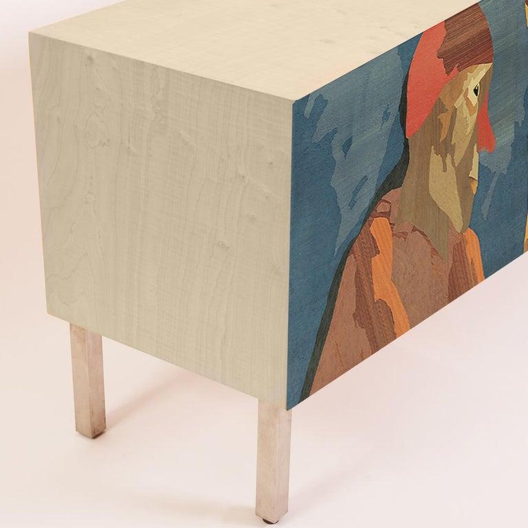 Modern Intarsia Sideboard by Emilio Tadini For Sale