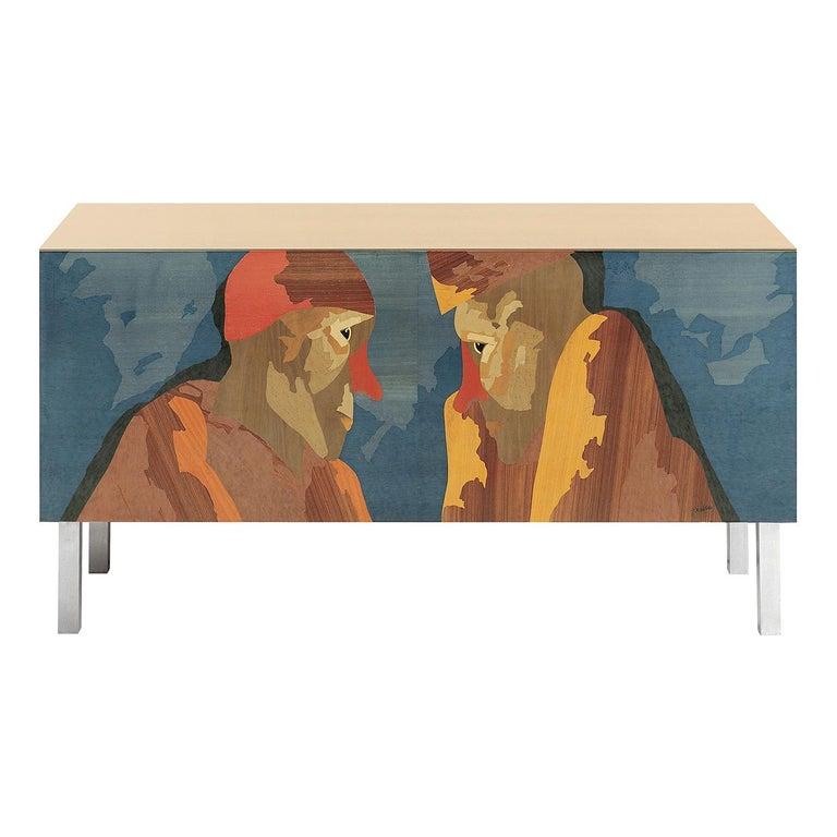 Intarsia Sideboard by Emilio Tadini For Sale