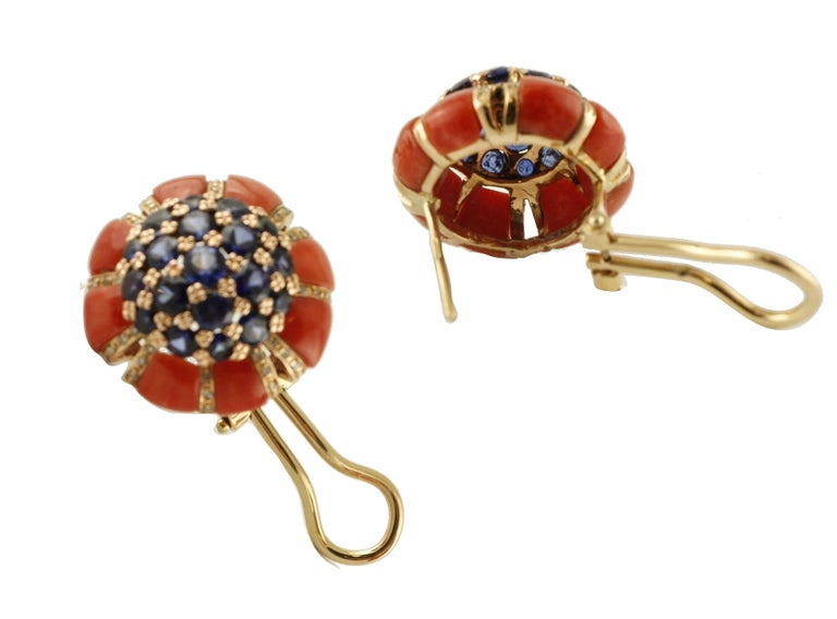 Retro Intense Blue Sapphires, Corals, Diamonds, Rose Gold Clip-On Earrings For Sale