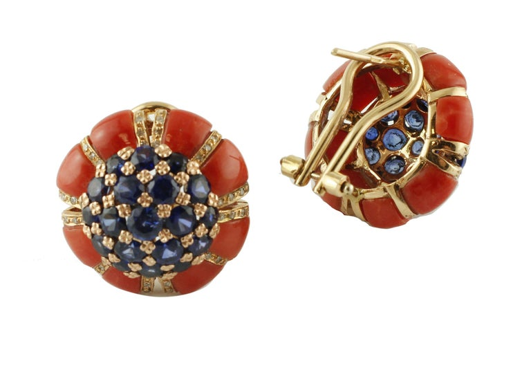 Intense Blue Sapphires, Corals, Diamonds, Rose Gold Clip-On Earrings In Excellent Condition For Sale In Marcianise, Caserta