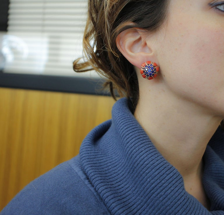 Women's Intense Blue Sapphires, Corals, Diamonds, Rose Gold Clip-On Earrings For Sale