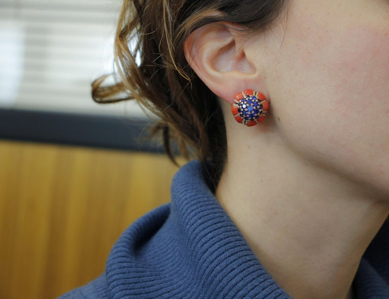 Intense Blue Sapphires, Corals, Diamonds, Rose Gold Clip-On Earrings For Sale 1