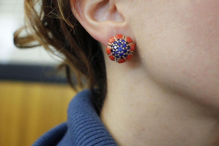 Intense Blue Sapphires, Corals, Diamonds, Rose Gold Clip-On Earrings For Sale 2