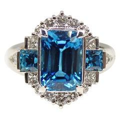 Intense Blue Zircon Diamond Platinum Ring