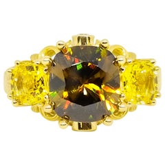 Intense Color Play 3.42 Carat Demantoid Garnet Canary Sapphire Diamond Ring 18K