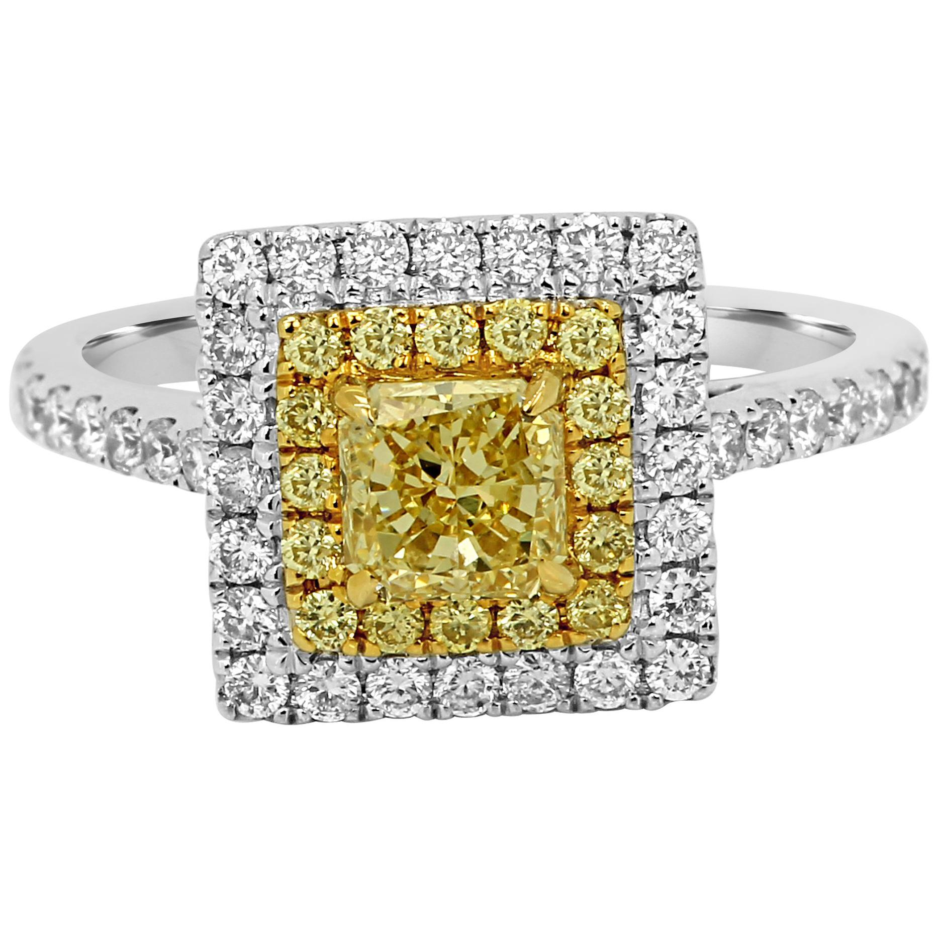 Intense Fancy Yellow Diamond Double Halo Two-Color Gold Bridal Fashion Ring