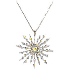 Intense Fancy Yellow Diamond Sapphire Pendant Chain Necklace Natalie Barney
