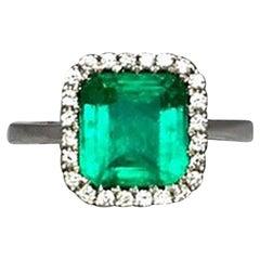 Intense Green 2.58 Carat Certified Colombian Emerald Diamond 18k Gold Halo Ring