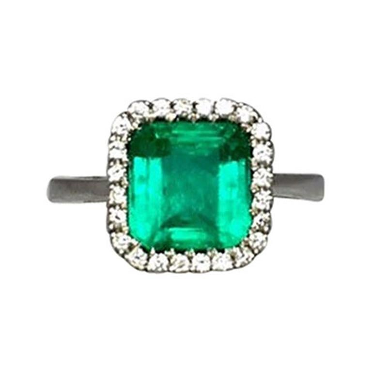 f2497a01ae11a Intense Green 2.58 Carat Certified Colombian Emerald Diamond 18K Gold Halo  Ring