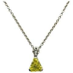 Intense Greenish-Yellow Diamond Platinum Pendant