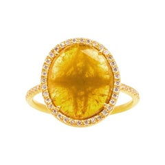 Intense Yellow Diamond Slice Ring with Diamond Pave Halo in 18k Yellow Gold