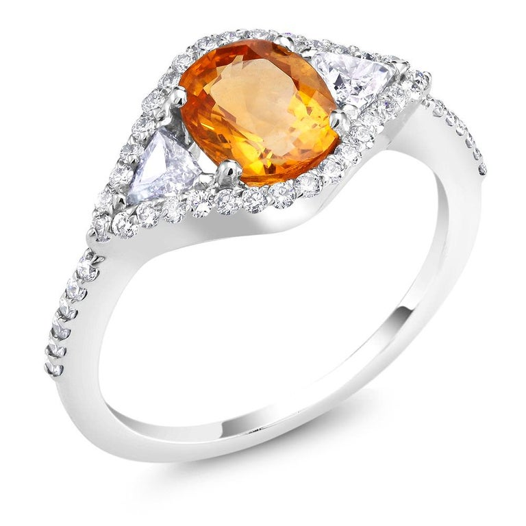 Oval Cut Eighteen Karat Cocktail Ring with Yellow Sapphire and Diamond  For Sale