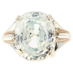 Intensely Glittering 15.69 Carat Natural Cambodian Zircon Sterling Silver Ring