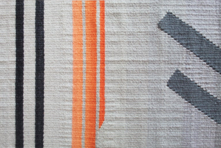 Modern Contemporary Handwoven Wool Rug Grey and Pink Tone Kilim or Tapestry For Sale