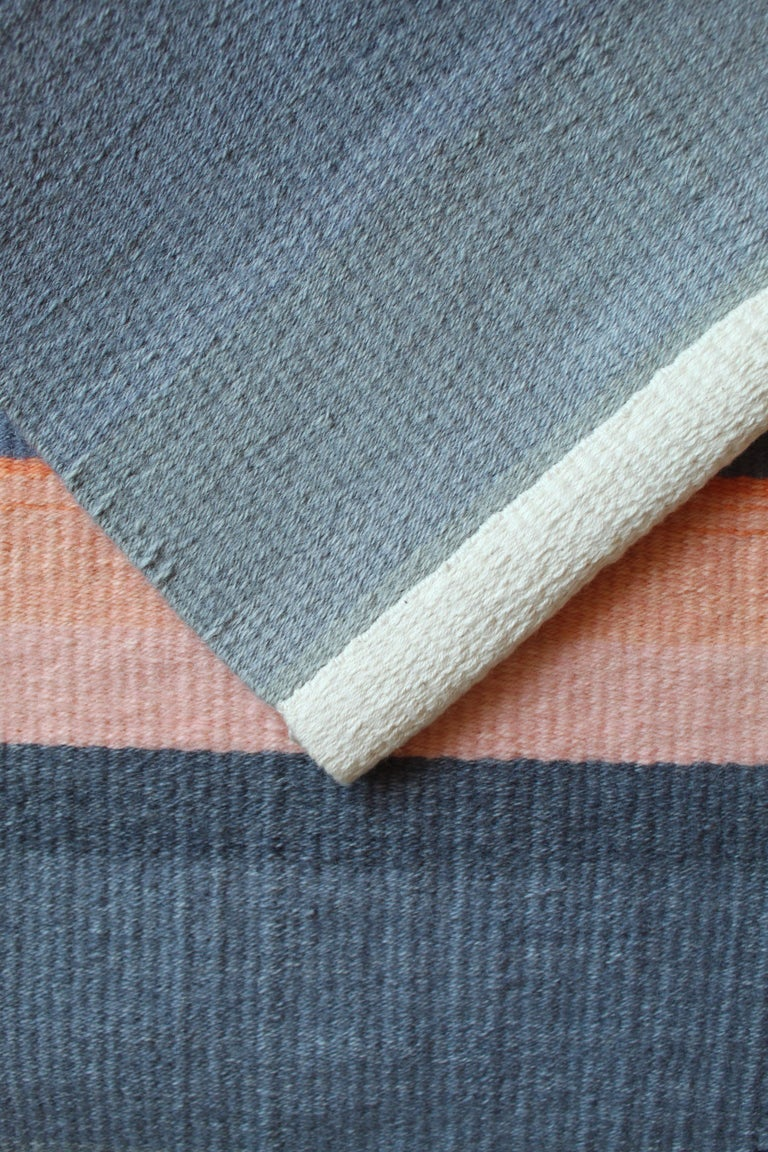 American Contemporary Handwoven Wool Rug Grey and Pink Tone Kilim or Tapestry For Sale