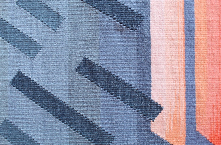 Hand-Woven Contemporary Handwoven Wool Rug Grey and Pink Tone Kilim or Tapestry For Sale