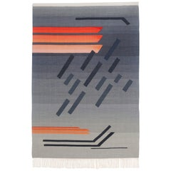 Contemporary Handwoven Wool Rug Grey and Pink Tone Kilim or Tapestry