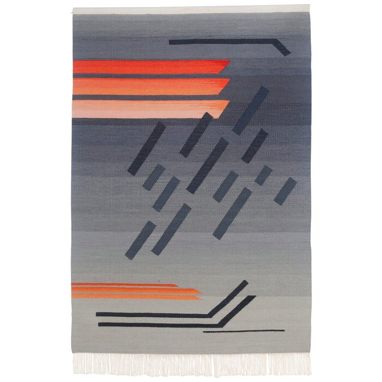 Contemporary Handwoven Wool Rug Grey and Pink Tone Kilim or Tapestry For Sale