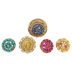 Interchangeable 18kt Yellow Gold Ring With 5 Screw on Pieces, Ruby,Coin,Sapphire