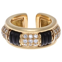 "Interchangeable Boucheron ""Pluriel"" Diamond Onyx 18 Karat Gold Ring"