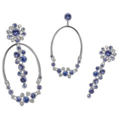 Interchangeable Constellation Earrings with Sapphires, Tanzanites and Diamonds