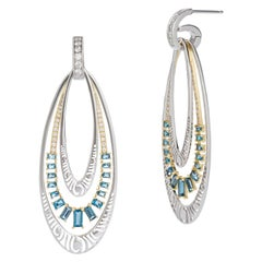 Interchangeable Earrings in Gold with Diamonds and London Blue Topaz Baguettes