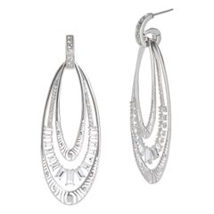 Interchangeable Earrings in Sterling with White Topaz Baguettes