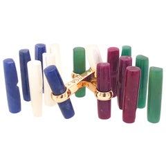 Berca Interchangeable Sapphire Ruby Jade Moonstone Baton 18k Gold Cufflinks