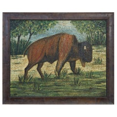 Interesting and Large Painting of a Buffalo from Belgium