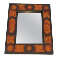 Interesting Ceramic Mirror, French, circa 1970