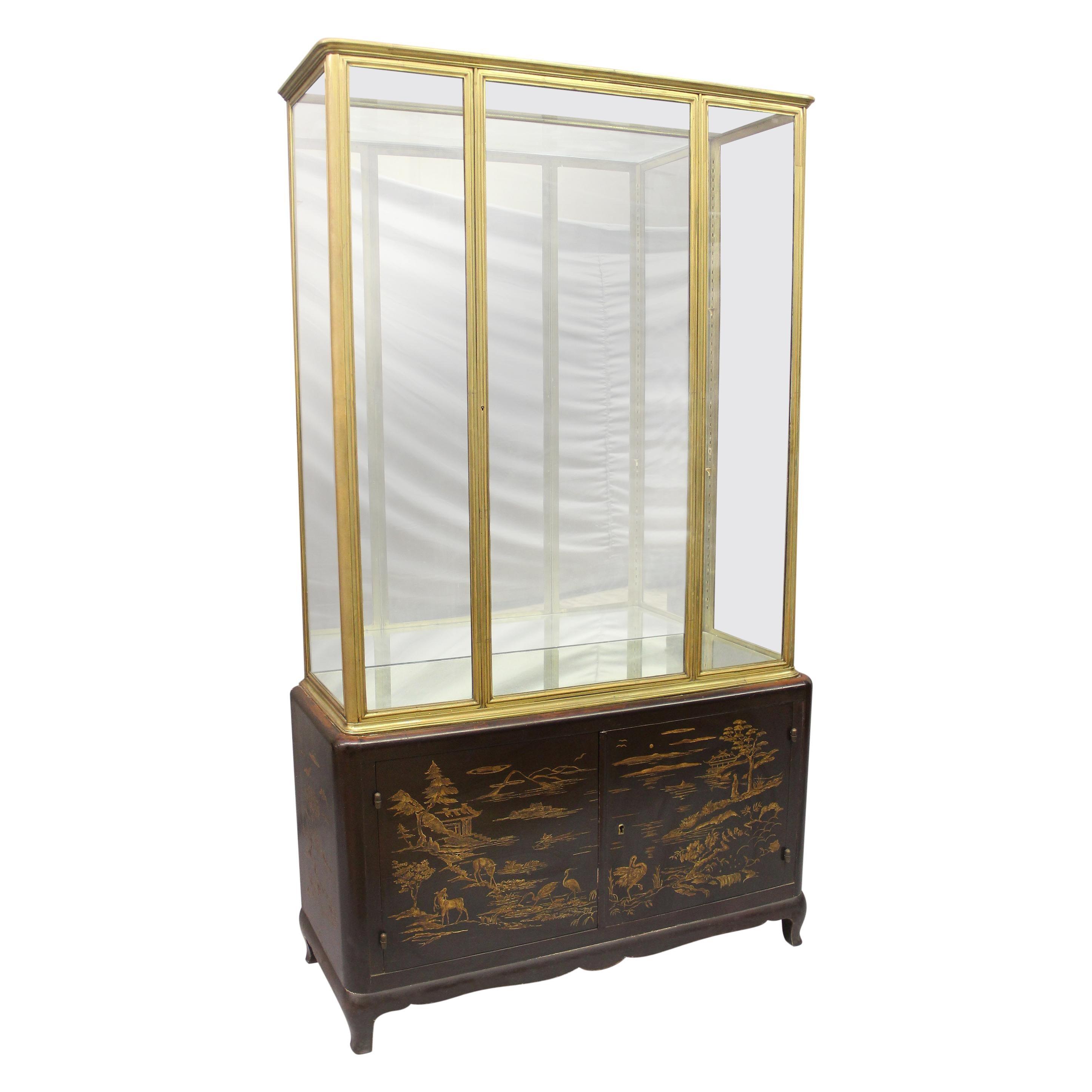 Interesting Late 19th Century Gilt Bronze and Lacquer Vitrine Cabinet