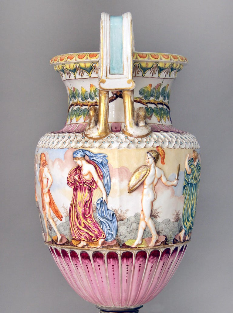 Belle Époque Interesting Late 19th Century Italian Capodimonte Porcelain Vase and Pedestal For Sale
