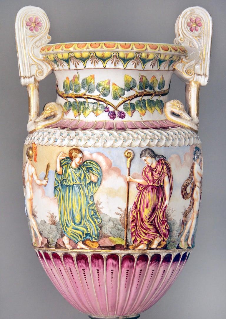 Gilt Interesting Late 19th Century Italian Capodimonte Porcelain Vase and Pedestal For Sale