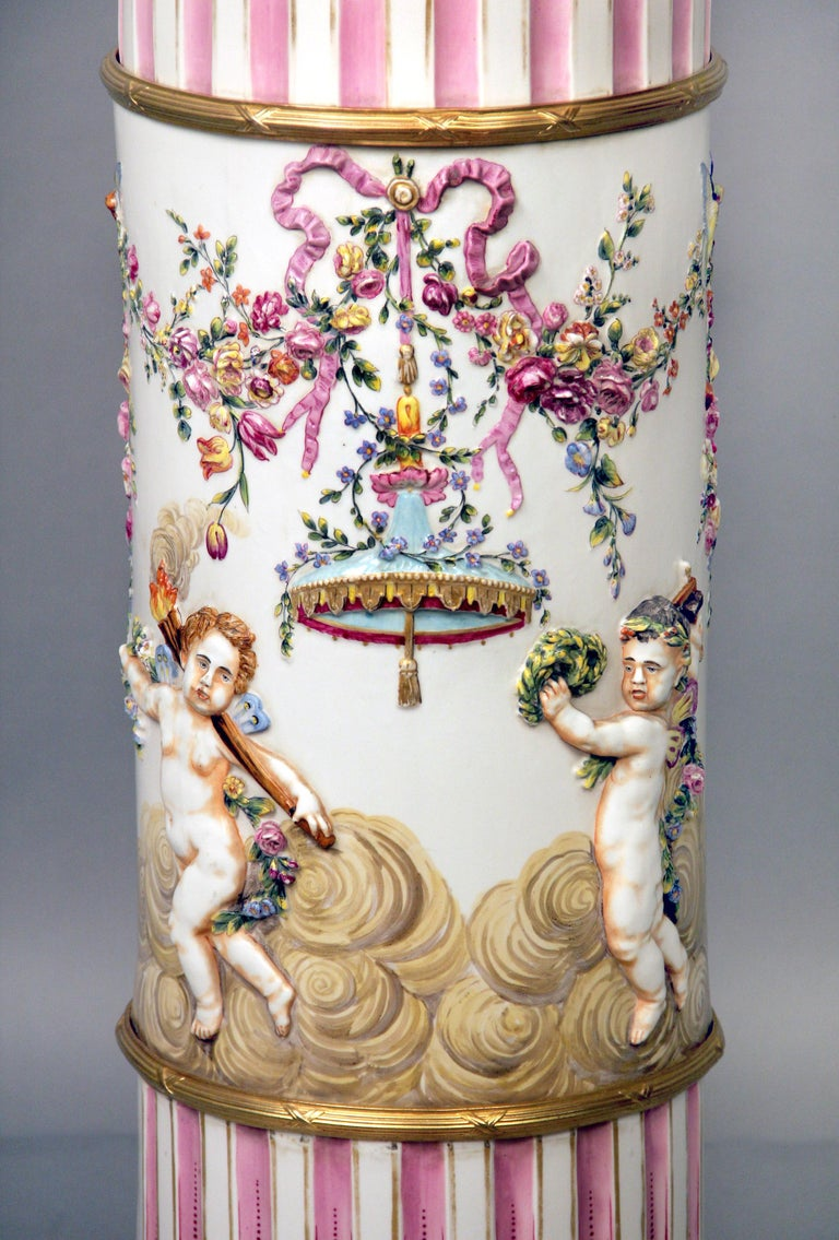 Bronze Interesting Late 19th Century Italian Capodimonte Porcelain Vase and Pedestal For Sale