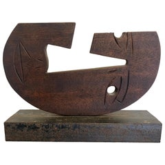 Interesting Midcentury Wood and Steel Sculpture of a Picasso Style Face