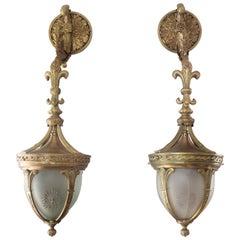 Interesting Pair of Late 19th Century Gilt Bronze Hanging Wall Lanterns