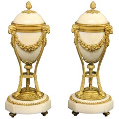 Interesting Pair of Late 19th Century Gilt Bronze Mounted Marble Candelabra