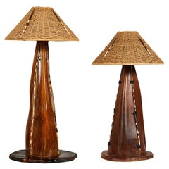 Interesting Pair of Midcentury Palm Frond Lamps