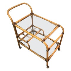 Interesting Rattan Drinks Trolley with Leather Links, French, circa 1950